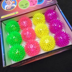 "2.5"" Light Up Flashing Neon Color Spiky Balls 12 per display .54 each"