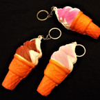 "4"" Squishy Scented Ice Cream Cone  Keychains .56 ea"
