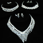 Elegant Clear Rhinestone Necklace Set  3  set  pack  $ 2.50 ea set