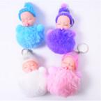 "5"" Faux Fur Pom Pom Keychains w/ Cute  Baby   12 per bx .54 ea"
