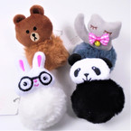 "4"" Faux Fur Pom Pom Keychains w/ Plush Animal   12 per bx .54 ea"
