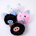 """3"""" Faux Fur Pom Pom Piggy Keychains w/ Sparkle Ears & Nose  12 per bx .54 ea"""