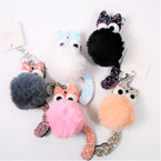 "5"" Faux Fur Pom Pom Cat  Keychains w/ Sparkle Ears & Tail  12 per bx .54 ea"