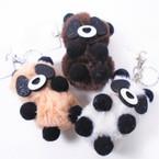 """3"""" Faux Fur Plush Kola   Keychains w/ Sparkle Eyes  12 per bx .54 ea"""