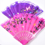 "9"" Asst Color  Butterfly Print  Lace Hand  Fan   12 per pk  .54 ea"
