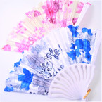"9"" Asst Color  Flower Print  White Handle  Fan   12 per pk  .54 ea"