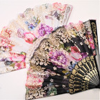 "9"" Asst Color  Gold Glitter Flower Print Hand Fan   12 per pk  .54 ea"