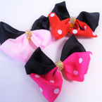 "4"" 2 Part Tone Clip Bows w/ Poka Dot Theme & Crystals 24 per pk .25 each"