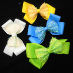 "5"" 2 Layer Gator Clip Bows w/ Tinsel Layer 24 per pk .35 each"