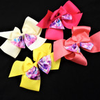 "5"" 2 Layer Gator Clip Bows w/ Tye Dye Layer 24 per pk .35 each"