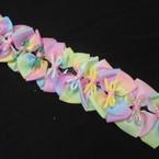 """4.5"""" Tye Dye 2 Part Fashion Gator Clip Bows w/ Sparkle Center 12 per pk .54 ea"""