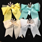 "6"" Tail Gator Clip Bows w/ Lace & Cry. Stone Gold Crown 12 per pk .54 ea"