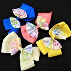 "4.5"" 2 Layer Gator Clip Bows w/ Tye Dye Star Layer 24 per pk .35 each"