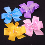 "5"" 2 Layer Gator Clip Bows w/ Star Butterfly Layer 24 per pk .35 each"