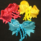 "5.5"" Gator Clip Bows 2 Layer w/ Sequins & Dangle Curly Ribbons   12 per pk .54 each"