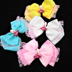 "5.5"" 3 Layer Gator Clip Bows w/ Lace & Sweet Girl Logo 12 per pk .54 each"