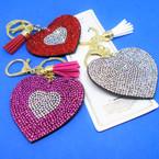 "2.5"" Crystal Stone Heart Bling Keychains w/ Tassel & Clip 12 per pk .56 each"