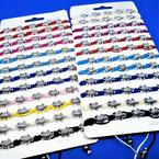 Mixed Color Macrame Bracelet w/ Cast Silver Turtles 12 per card  .54 ea
