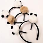 Popular Pom Pom Headbands Panda Look 2 colors .56 each