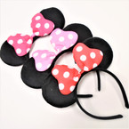 Popular Black Mouse Ear Headbands w/ Poka Dot Bow .56 each
