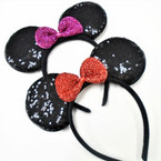 Popular Black Sequin Mouse Ear Headbands w/ Sparkle Bow .56 each