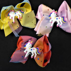 "5"" 2 Layer Gator Clip Bows w/ Unicorn Asst Colors 12 per pk  .54 ea"