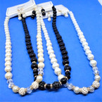 "Best Quality 16"" Glass Pearl Necklace Set w/ Crystals 3 colors .58 per set"