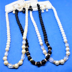 "Elegant 16"" Glass Pearl Necklace Set w/ Crystals 3 colors .58 per set"
