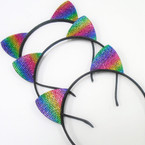 Trendy Gadiant Rainbow Crystal Stone Cat's Ear Headbands .54 each
