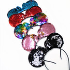 "7.5"" Wide Sequin Change Color Mouse Ear Headbands w/ Butterfly Bow .54 each"