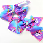 "5"" Multi Color Poop Theme Unicorn Gator Clip Bows .52 each"