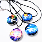 Black Cord Necklace w/ Glass Infinity Space Pendant .54 each