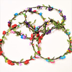Asst Color Flower Hair Garland/Halo 12 per bx .54 each