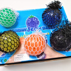 "2.5"" Mix Color Squeeze  Mesh Balls 12 per display bx .55 each"