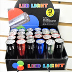 "3.25"" 9 LED Light Flashlights  4 colors  24 per display ONLY .60 each"