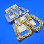 "2"" Gold & Silver Metal Hammered Look Door Knocker Style Earrings .54 ea pair"