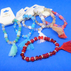 Summer Color Stone & Crystal Bead Bracelets w/ Tassel .54 each