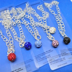 "18"" Silver Toggle Necklace w/ 15MM Crystal Fireball Pendant  .56 each"
