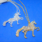 "20"" Gold & Silver Necklace w/ Cry. Stone Unicorn Pendant  .56 each"