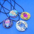 Black Cord Necklace w/ DBL Side Glass Owl Pendant .54 each