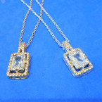 "18"" Gold & Silver Necklace w/ Cry. Stone Perfume Bottle  Pendant  .54 each"
