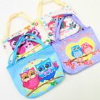 "4.5"" Wide Owl Theme Zipper Bag w/ Handles .56 each"