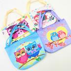 "4.5"" Wide Owl Theme Zipper Bag w/ Handles .56 each"