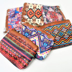 "Mixed Aztec Theme Print 4.5"" Zipper Coin Purse .54 each"
