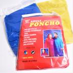 100% Vinyl Emergency Rain Poncho 3 colors 12 per pk .58 each