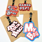 "4"" Durable Mixed  Saying Luggage Tags 12 per pk .56 each"