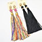 "CLIP ON 5"" Asst Color Tassel Fashion Earring w/ Stone Top  .54 ea pair"