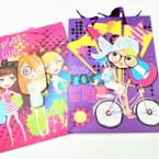 """7"""" X 9"""" Super Girl Theme 3D Gift Bags 12 per pk .52 each"""