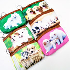 "Cute 4"" X 5"" DOG Theme Zipper DBL Sided Coin Purses 12 per pk .58 each"