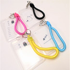 "4"" Transparent Hard Plastic ID Holder w/ Wrislet ,Keychain & Clip .54 each"